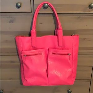 Pink faux snakeskin tote bag. Never used